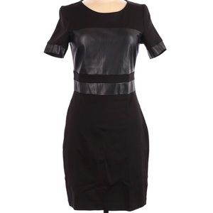 Kenneth Cole Faux Leather cap sleeve dress
